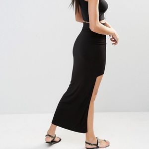 MissGuided High-Low Black Maxi